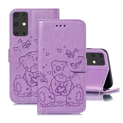 For Samsung Galaxy S20+ Embossed Butterfly Love Bear Pattern PU + TPU Horizontal Flip Leather Case with Holder & Card Slots & Wallet & Photo Frame(Purple)