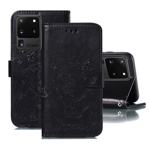 For Samsung Galaxy S20 Ultra Embossed Butterfly Love Bear Pattern PU + TPU Horizontal Flip Leather Case with Holder & Card Slots & Wallet & Photo Frame(Black)