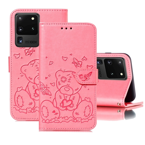 For Samsung Galaxy S20 Ultra Embossed Butterfly Love Bear Pattern PU + TPU Horizontal Flip Leather Case with Holder & Card Slots & Wallet & Photo Frame(Pink)