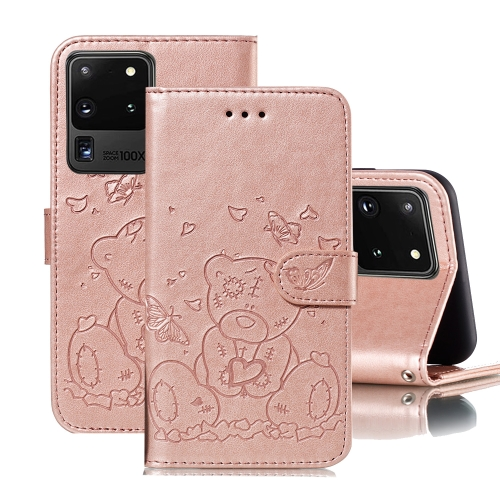 For Samsung Galaxy S20 Ultra Embossed Butterfly Love Bear Pattern PU + TPU Horizontal Flip Leather Case with Holder & Card Slots & Wallet & Photo Frame(Rose Gold)