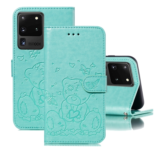 For Samsung Galaxy S20 Ultra Embossed Butterfly Love Bear Pattern PU + TPU Horizontal Flip Leather Case with Holder & Card Slots & Wallet & Photo Frame(Green)