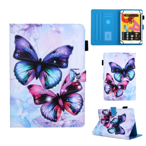 For 7 inch Universal Tablet PC Colored Drawing Pattern Horizontal Flip Leather Case with Holder & Card Slots & Anti-skid Strip(Butterfly)