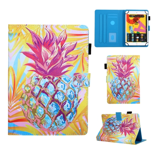 For 8 inch Universal Tablet PC Colored Drawing Pattern Horizontal Flip Leather Case with Holder & Card Slots & Anti-skid Strip(Pineapple)