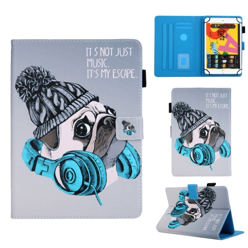 For 10 inch Universal Tablet PC Colored Drawing Pattern Horizontal Flip Leather Case with Holder & Card Slots & Anti-skid Strip(Music Dog)