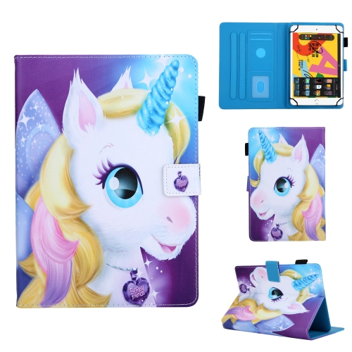 For 10 inch Universal Tablet PC Colored Drawing Pattern Horizontal Flip Leather Case with Holder & Card Slots & Anti-skid Strip(Unicorn)