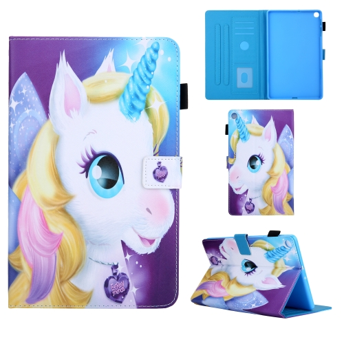 For Samsung Galaxy Tab A10.1 (2019) T510 Colored Drawing Pattern Horizontal Flip Leather Case with Holder & Card Slots & Anti-skid Strip(Unicorn)