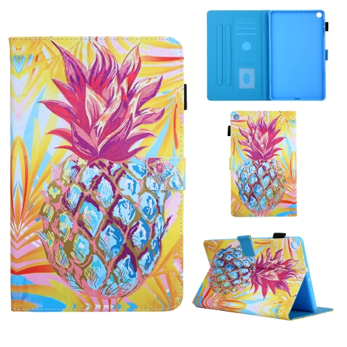 For Samsung Galaxy Tab A10.1 (2019) T510 Colored Drawing Pattern Horizontal Flip Leather Case with Holder & Card Slots & Anti-skid Strip(Pineapple)