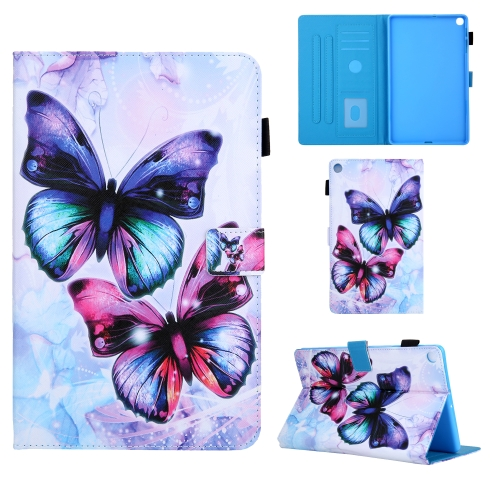 For Samsung Galaxy Tab A10.1 (2019) T510 Colored Drawing Pattern Horizontal Flip Leather Case with Holder & Card Slots & Anti-skid Strip(Butterfly)