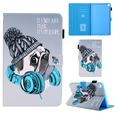 For Samsung Galaxy Tab A8.0 (2019) T290 Colored Drawing Pattern Horizontal Flip Leather Case with Holder & Card Slots & Anti-skid Strip(Music Dog)