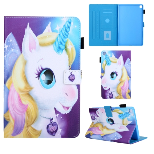 For Samsung Galaxy Tab A8.0 (2019) T290 Colored Drawing Pattern Horizontal Flip Leather Case with Holder & Card Slots & Anti-skid Strip(Unicorn)