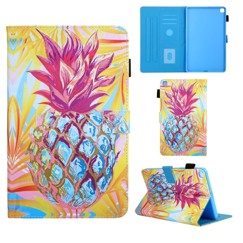 For Samsung Galaxy Tab A8.0 (2019) T290 Colored Drawing Pattern Horizontal Flip Leather Case with Holder & Card Slots & Anti-skid Strip(Pineapple)