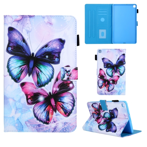 For Samsung Galaxy Tab A8.0 (2019) T290 Colored Drawing Pattern Horizontal Flip Leather Case with Holder & Card Slots & Anti-skid Strip(Butterfly)