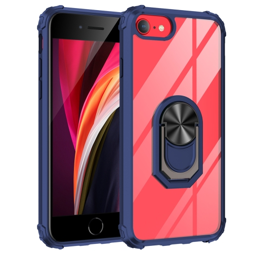 For iPhone SE 2020 / 8 / 7 / 6 Shockproof Transparent TPU + Acrylic Protective Case with Ring Holder(Blue)