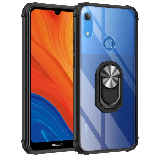 For Huawei Y6s (2019) Shockproof Transparent TPU + Acrylic Protective Case with Ring Holder(Silver Black)