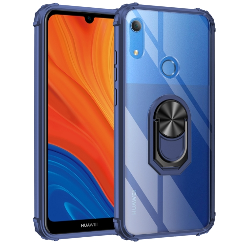 For Huawei Y6s (2019) Shockproof Transparent TPU + Acrylic Protective Case with Ring Holder(Blue)
