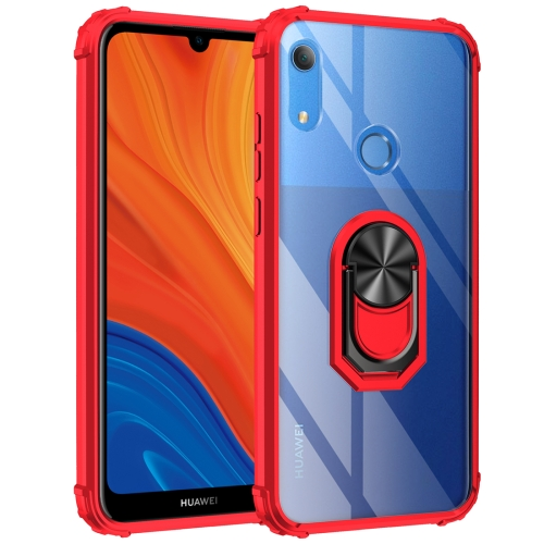 For Huawei Y6s (2019) Shockproof Transparent TPU + Acrylic Protective Case with Ring Holder(Red)