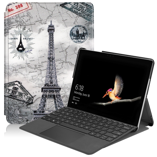 For Microsoft Surface Go 2 / Surface Go Colored Drawing Voltage Elastic Texture Horizontal Flip Leather Case with Holder(Eiffel Tower)