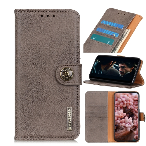 For IPhone 12 (5.4) KHAZNEH Cowhide Texture Horizontal Flip Leather Case with Holder & Card Slots & Wallet(Khaki)