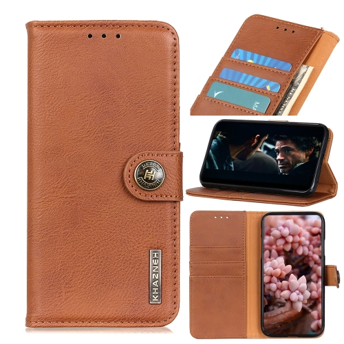For IPhone 12 (5.4) KHAZNEH Cowhide Texture Horizontal Flip Leather Case with Holder & Card Slots & Wallet(Brown)