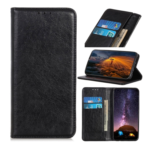 For iPhone IPhone 12 (5.4)Magnetic Crazy Horse Texture Horizontal Flip Leather Case with Holder & Card Slots & Wallet(Black)