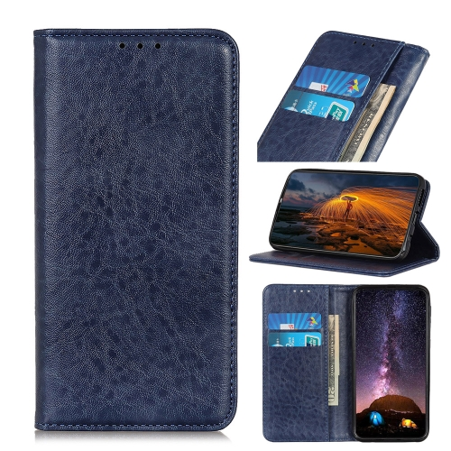 For iPhone IPhone 12 (5.4)Magnetic Crazy Horse Texture Horizontal Flip Leather Case with Holder & Card Slots & Wallet(Blue)