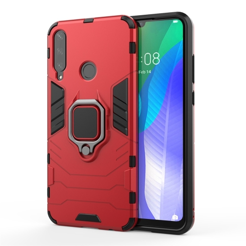 For Huawei Y6P PC + TPU Shockproof Protective Case with Ring Holder(Red)