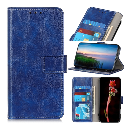 For IPhone 12 (5.4) Retro Crazy Horse Texture Horizontal Flip Leather Case with Holder & Card Slots & Photo Frame & Wallet(Blue)
