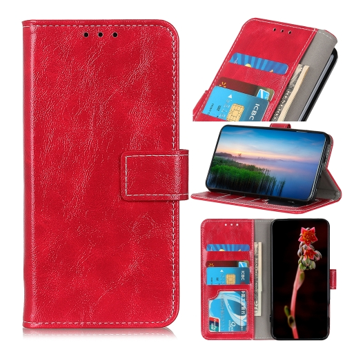 For Xiaomi Redmi 10X 5G / 10X Pro 5G Retro Crazy Horse Texture Horizontal Flip Leather Case with Holder & Card Slots & Photo Frame & Wallet(Red)