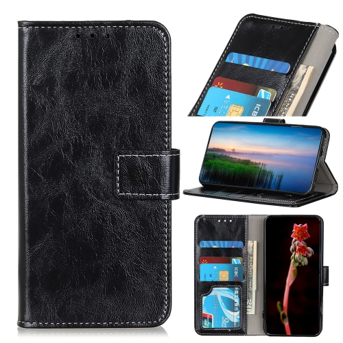 For Honor 9X Lite Retro Crazy Horse Texture Horizontal Flip Leather Case with Holder & Card Slots & Photo Frame & Wallet(Black)