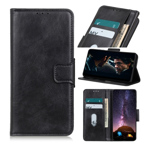 For iPhone 12 5.4 inch Mirren Crazy Horse Texture Horizontal Flip Leather Case with Holder & Card Slots & Wallet(Black)