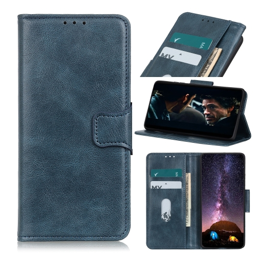 For iPhone 12 5.4 inch Mirren Crazy Horse Texture Horizontal Flip Leather Case with Holder & Card Slots & Wallet(Blue)