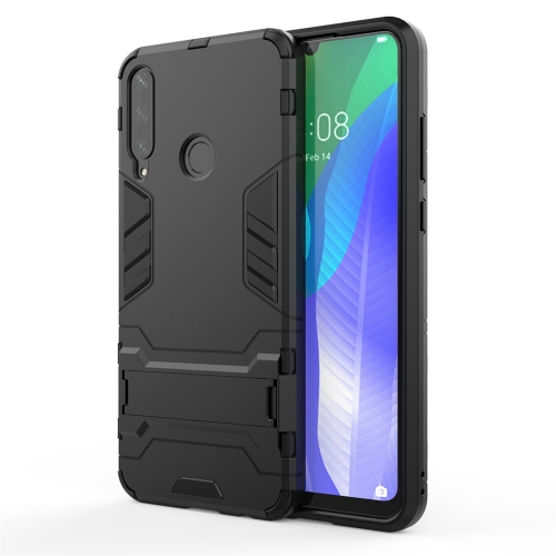 For Huawei Y6P  TPU Shockproof Protective Case with Holder(Black)