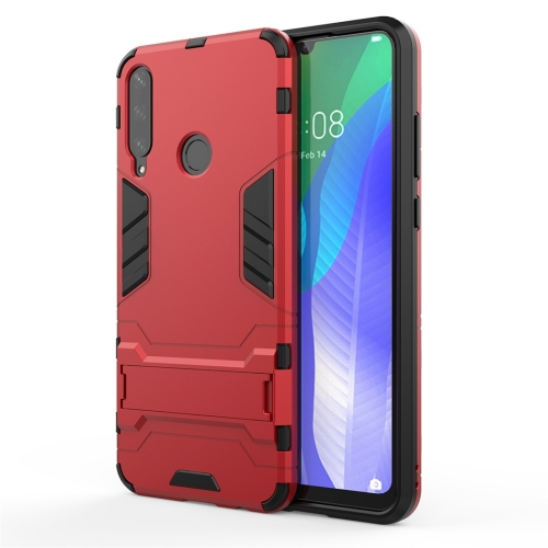 For Huawei Y6P  TPU Shockproof Protective Case with Holder(Red)