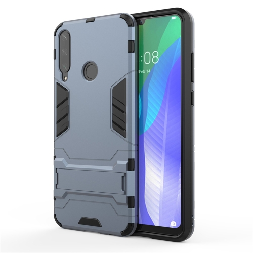 For Huawei Y6P  TPU Shockproof Protective Case with Holder(Navy Blue)