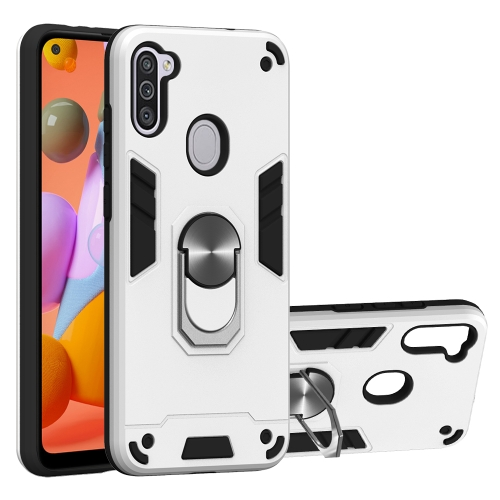 For Samsung Galaxy A11 / M11  2 in 1 Armour Series PC + TPU Protective Case with Ring Holder(Silver)