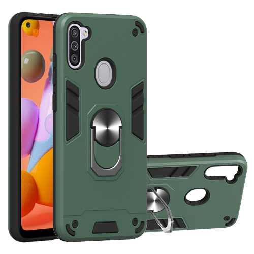 For Samsung Galaxy A11 / M11  2 in 1 Armour Series PC + TPU Protective Case with Ring Holder(Dark Green)