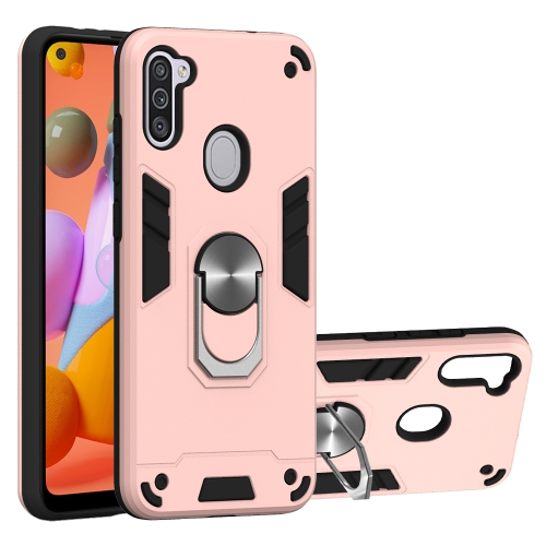 For Samsung Galaxy A11 / M11  2 in 1 Armour Series PC + TPU Protective Case with Ring Holder(Rose Gold)