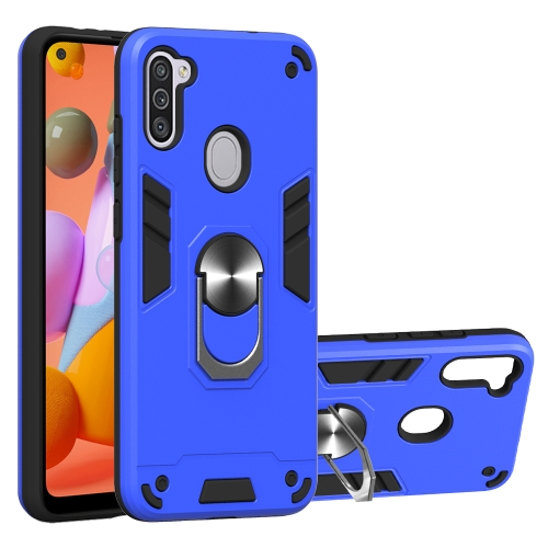 For Samsung Galaxy A11 / M11  2 in 1 Armour Series PC + TPU Protective Case with Ring Holder(Dark Blue)