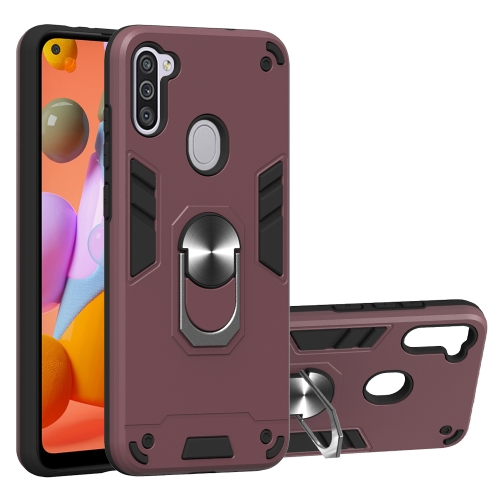 For Samsung Galaxy A11 / M11  2 in 1 Armour Series PC + TPU Protective Case with Ring Holder(Wine Red)