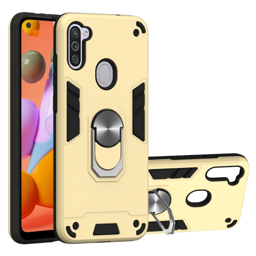 For Samsung Galaxy A11 / M11  2 in 1 Armour Series PC + TPU Protective Case with Ring Holder(Gold)