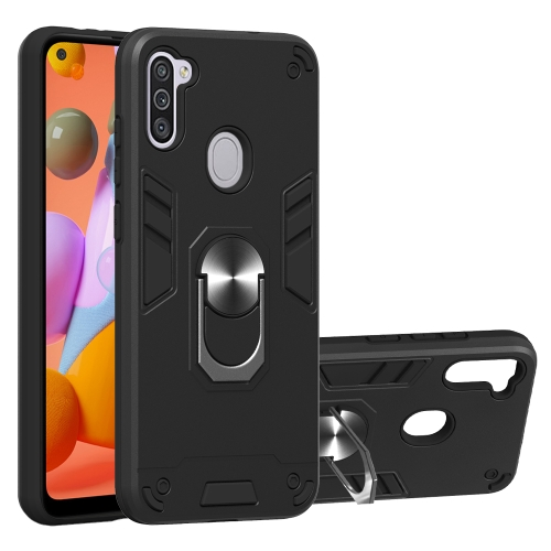 For Samsung Galaxy A11 / M11  2 in 1 Armour Series PC + TPU Protective Case with Ring Holder(Black)