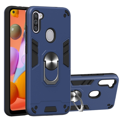 For Samsung Galaxy A11 / M11  2 in 1 Armour Series PC + TPU Protective Case with Ring Holder(Royal Blue)