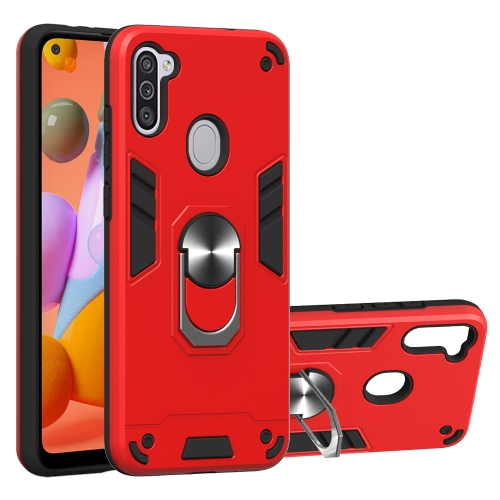 For Samsung Galaxy A11 / M11  2 in 1 Armour Series PC + TPU Protective Case with Ring Holder(Red)