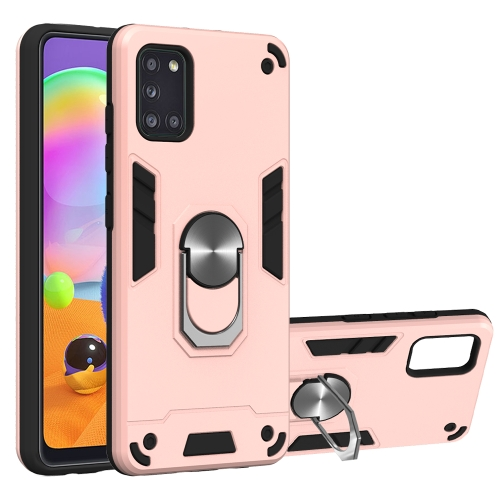 For Samsung Galaxy A31  2 in 1 Armour Series PC + TPU Protective Case with Ring Holder(Rose Gold)
