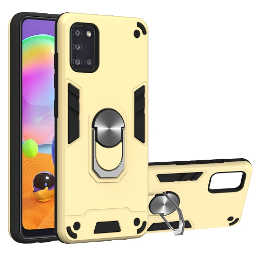 For Samsung Galaxy A31  2 in 1 Armour Series PC + TPU Protective Case with Ring Holder(Gold)