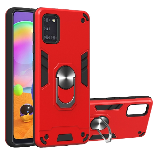 For Samsung Galaxy A31  2 in 1 Armour Series PC + TPU Protective Case with Ring Holder(Red)
