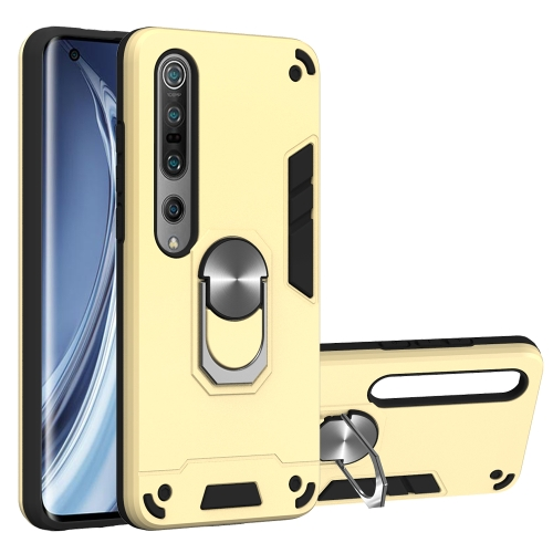For Xiaomi Mi 10 5G / Mi 10 Pro 5G  2 in 1 Armour Series PC + TPU Protective Case with Ring Holder(Gold)