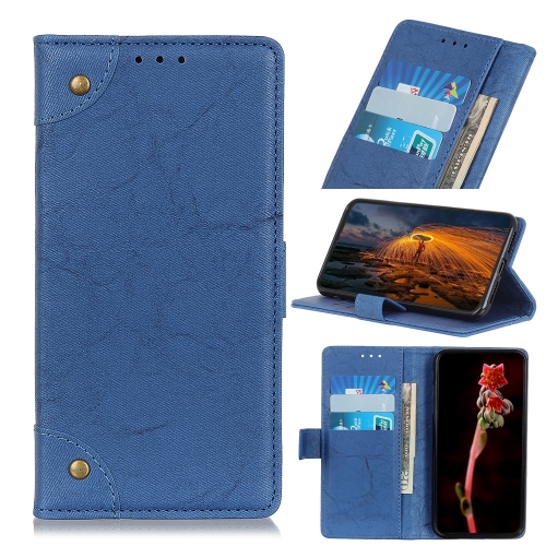 For Xiaomi Redmi 10X 5G / 10X Pro 5G  - Copper Buckle Retro Crazy Horse Texture Horizontal Flip Leather Case with Holder & Card Slots & Wallet(Blue)