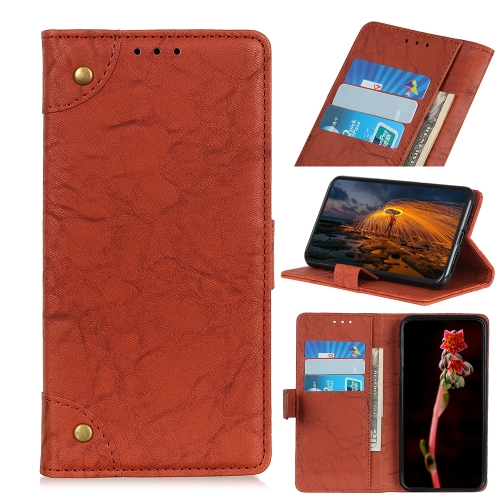 For Xiaomi Redmi 10X 5G / 10X Pro 5G  - Copper Buckle Retro Crazy Horse Texture Horizontal Flip Leather Case with Holder & Card Slots & Wallet(Brown)