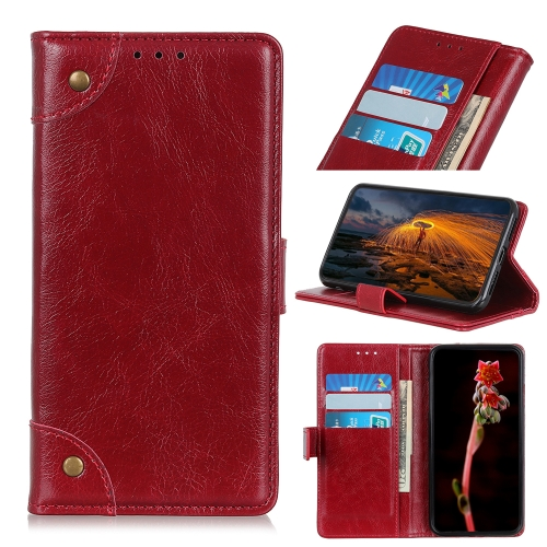 For Xiaomi Redmi 10X 5G / 10X Pro 5G   Copper Buckle Nappa Texture Horizontal Flip Leather Case with Holder & Card Slots & Wallet(Red Wine)